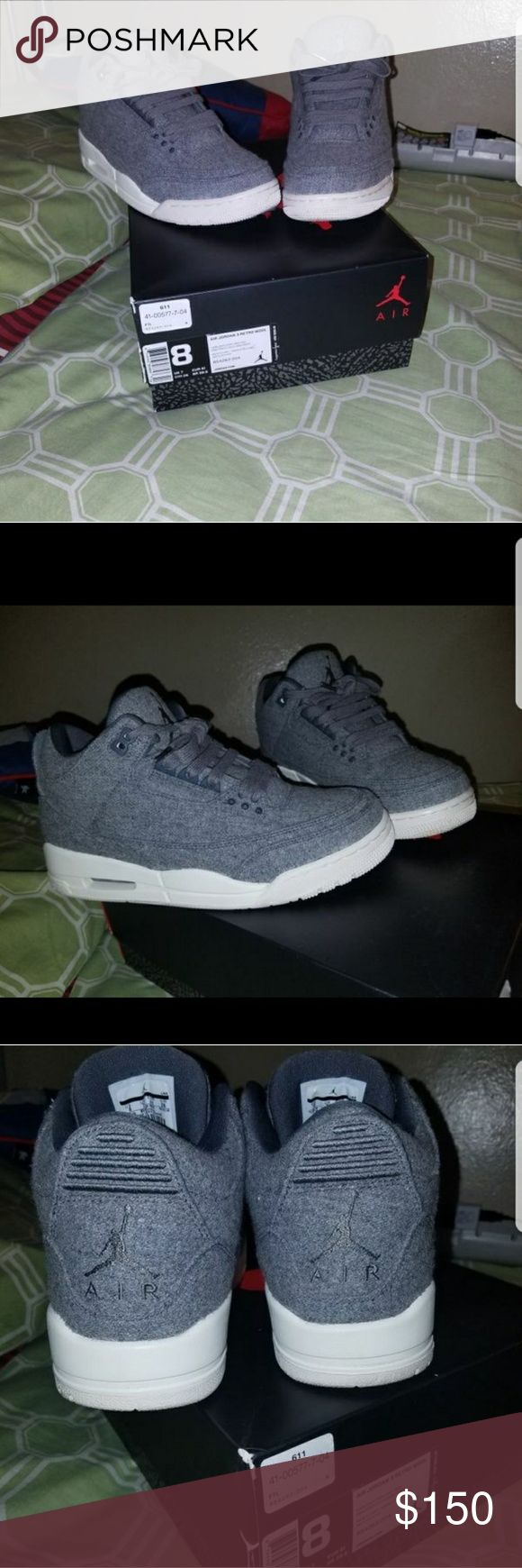 Air jordan Wool 3s og all original box size 8 Wool 3s size 8 worn twice 10/10 no heel drag perfect conditions asking 150 or best offer Air Jordan Shoes Sneakers