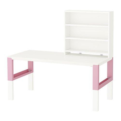 IKEA - PÅHL, Escritorio con estante, blanco/rosa, , Este escritorio ha sido diseñado para que crezca con su hijo, ya que se puede montar a tres alturas diferentes.Utiliza los pomos de las patas para regular la altura del escritorio a 59, 66 o 72 cm.Mantén en orden los cables y los alargadores poniéndolos en los organizadores que hay entre las patas delanteras y las traseras.Gira hacia afuera el lado verde o el blanco del panel del fondo en función del estilo que más te guste y de la…