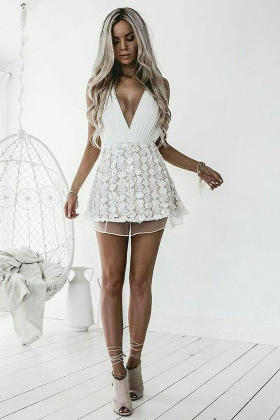 387a9c7dc4 A-Line Halter Backless Short Chiffon Homecoming Dress with Pleats White  Chiffon