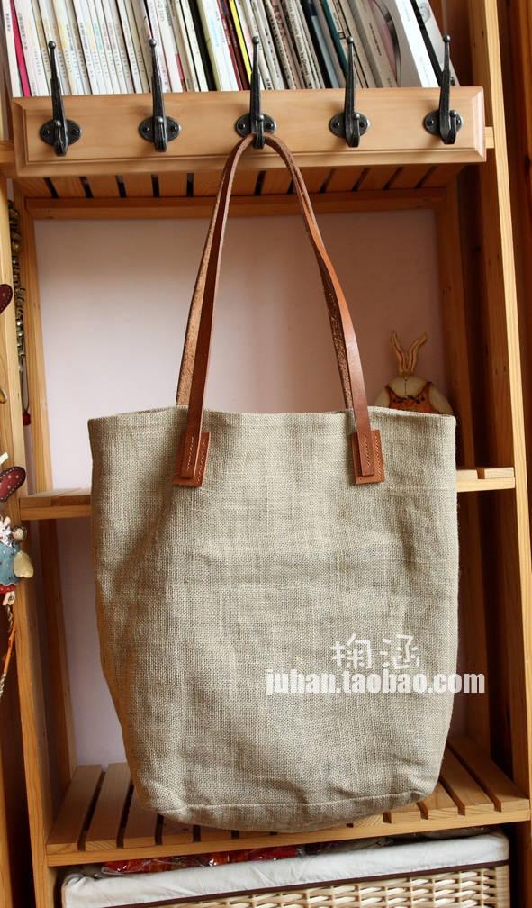 ZAKKA linen package leather strap retro street bag satchel admission package / bag - Taobao