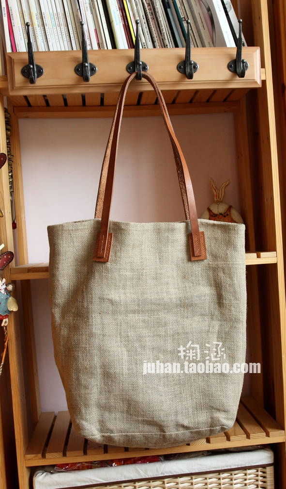 ZAKKA linen package leather strap retro street bag satchel admission package / bag - Taobao