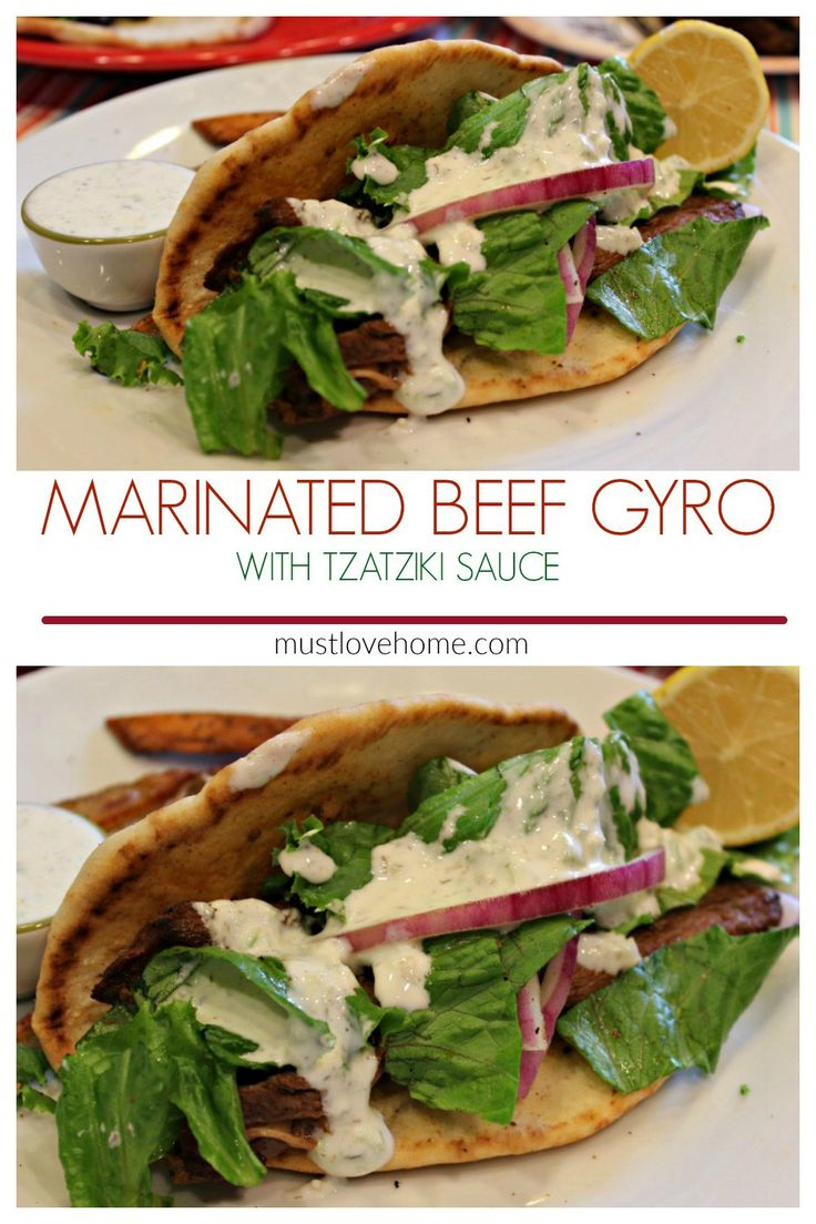 These are crazy good Gyros. Succulent marinated beef, covered in tangy tzatziki sauce and wrapped in a warm flatbread...so so good!