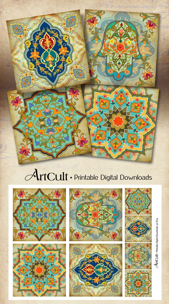 Printable MOROCCAN COASTERS Digital Collage Sheet by ArtCult