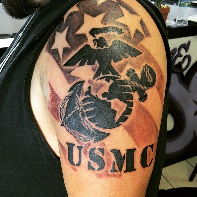 25 cool usmc tattoos meaning policy and designs check for Usmc sleeve tattoo ideas