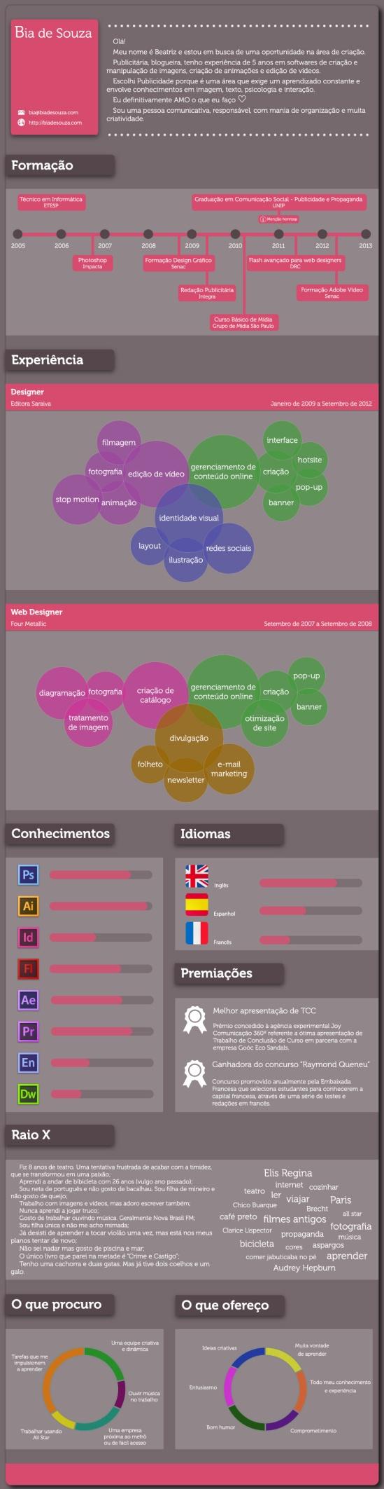 Currículo em Infográfico - Bia de Souza #curriculum #resume #curriculo #infografico #infographic #design #criacao #arte #InfographicResume