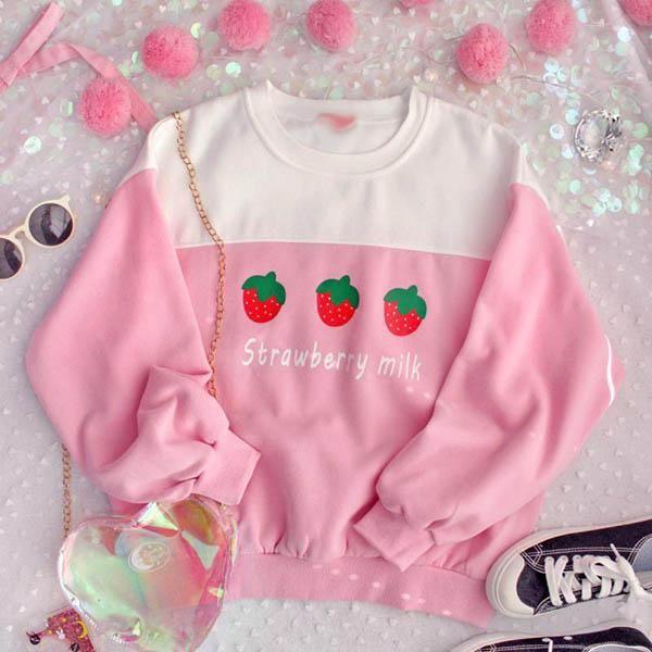 Strawberry Milk Sweatshirt boogzel apparel, ,sweater, tumblr, grunge, pale, goth, aesthetic, soft grunge