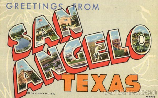 San Angelo TX Greetings From San Angelo. Texas vintage postcard.