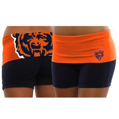Chicago Bears Ladies Sublime Knit Shorts - Navy Blue/Orange