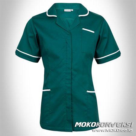 SERAGAM PERAWAT, MEDIS & PAKAIAN RUMAH SAKIT, Model Baju Perawat Modern Warna Hijau.