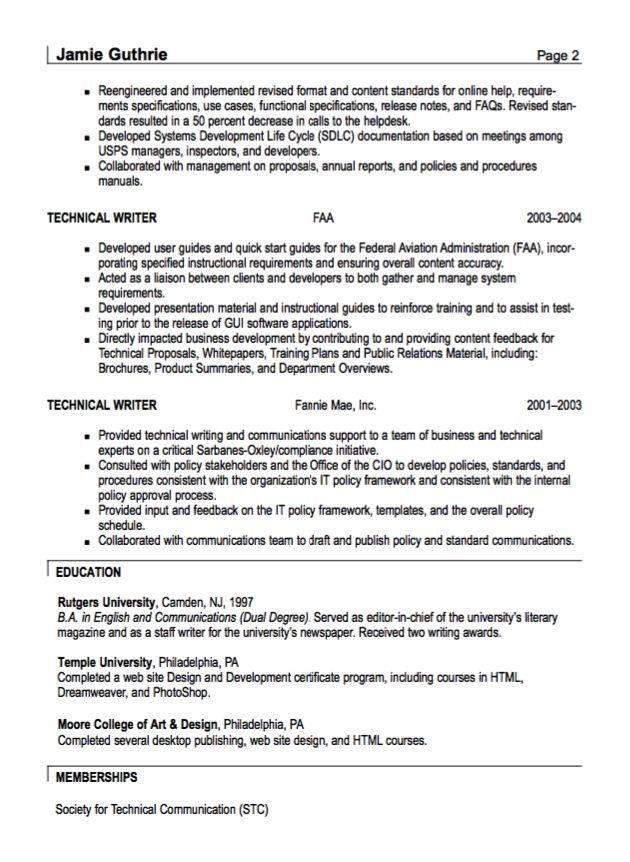 technical writer resumes technical writer resume sample good