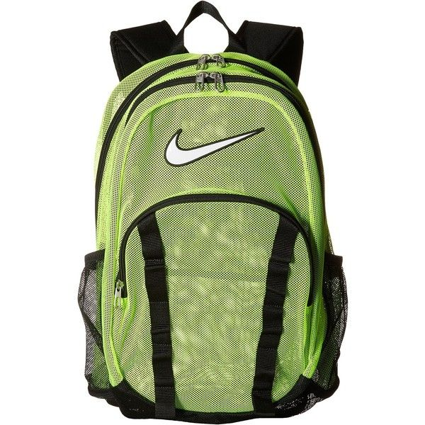Nike Brasilia 7 Backpack Mesh XL (Volt/Black/(White)) Backpack Bags ($28) ❤ liked on Polyvore featuring bags, backpacks, yellow, mesh backpack, white rucksack, clear mesh backpack, white backpack and nike