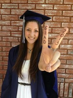 Graduation Picture Idea. High School Graduation, Blue Cap and Gown