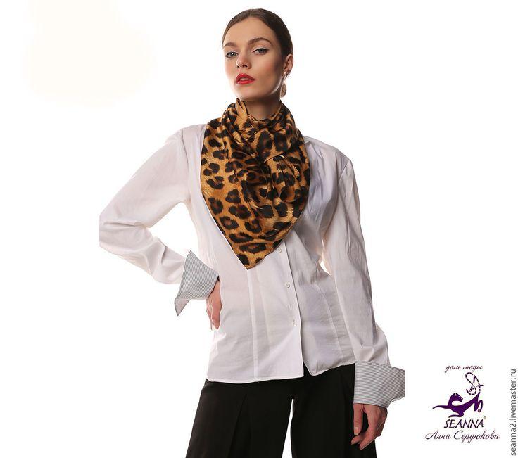 Купить Платок леопардовый шелковый 90х90см - бежевый, леопардовый принт, леопардовый шелк, шелковый платок