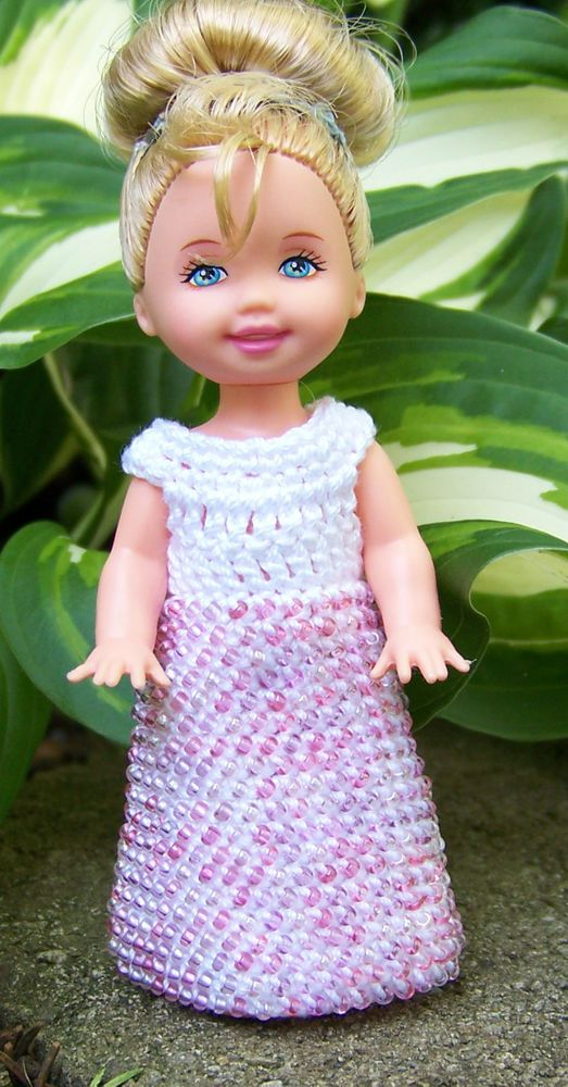 Kelly 4 1/2  Doll White Long Dress Gown with Pink, Purple Mix Seed Beads Crochet