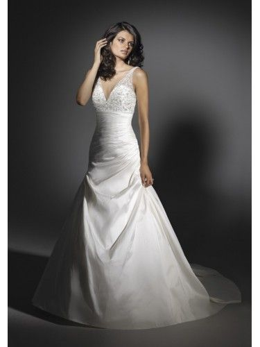 Silk Like Satin Empire sheet V-neckline Beaded Bodice Mermaid Wedding Dress