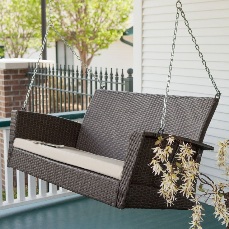 Have to have it. Coral Coast Soho Wicker Porch Swing with Cushion - $249.98 @hayneedle