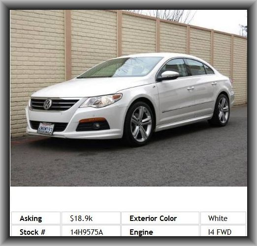 2010 Volkswagen CC Sport PZEV Sedan  Front And Rear Reading Lights, Instrumentation: Low Fuel Level, Wheel Width: 7.5, Video Monitor Location: Front, Speed-Proportional Electric Power Steering, Tire Pressure Monitoring System, Privacy Glass: Light,