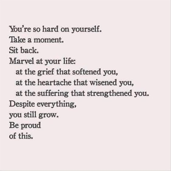 you're so hard on yourself. take a moment. sit back. marvel at your life: at the grief that softened you, at the heartache that wisened you, at the suffering that strengthened you. despite everything, you still grow. be proud of this.