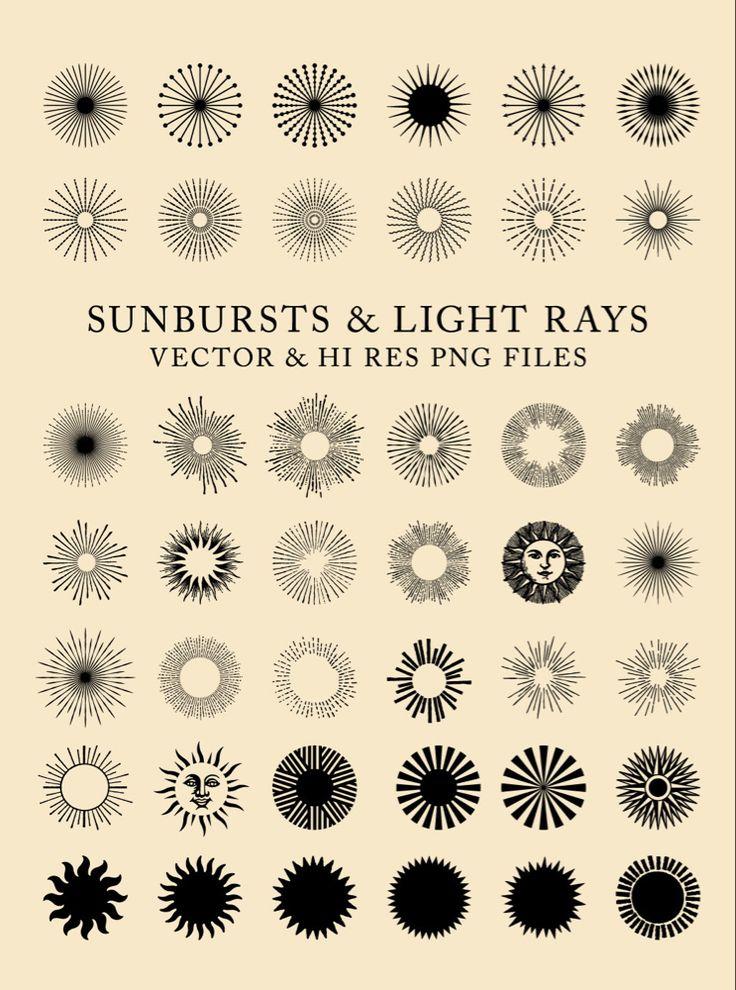42 Vintage Sunbursts Light Rays Clipart Clip Art Png Vector Eps Ai Design Elements Digital Instant Download Geometric Tattoo Sun Tattoo Pattern Tattoo