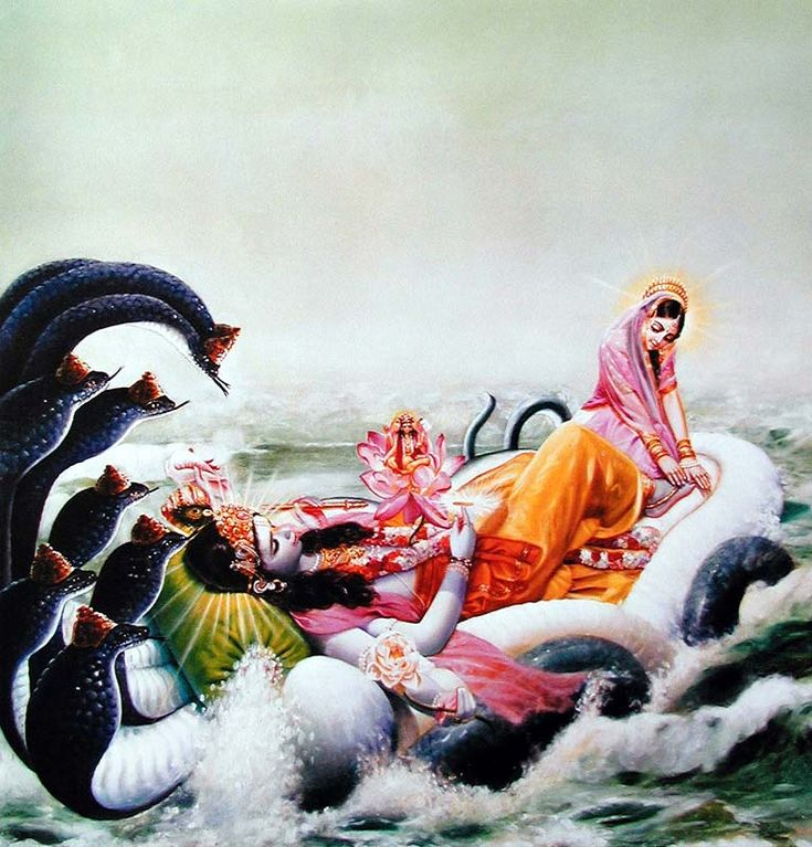 Hindu art: Garbhodakasayi Vishnu and Laksmi