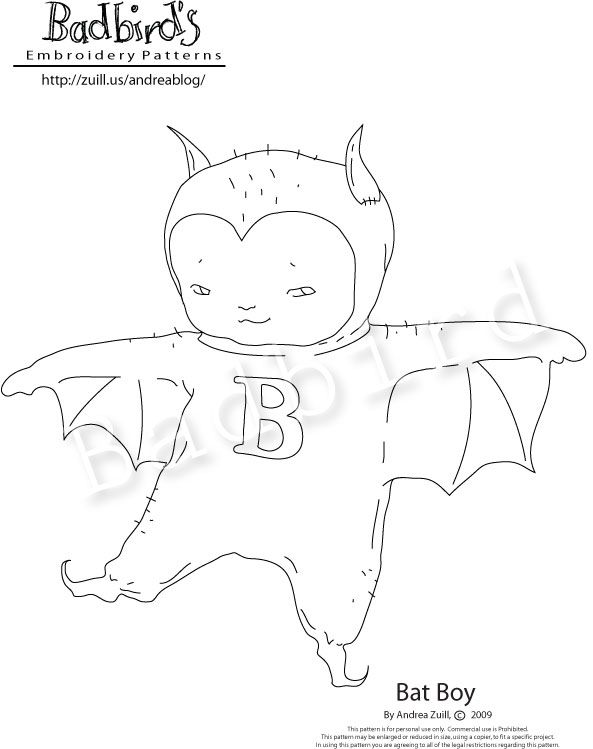 bat boy free embroidery pattern cute as the dickens - Halloween Hand Embroidery Patterns