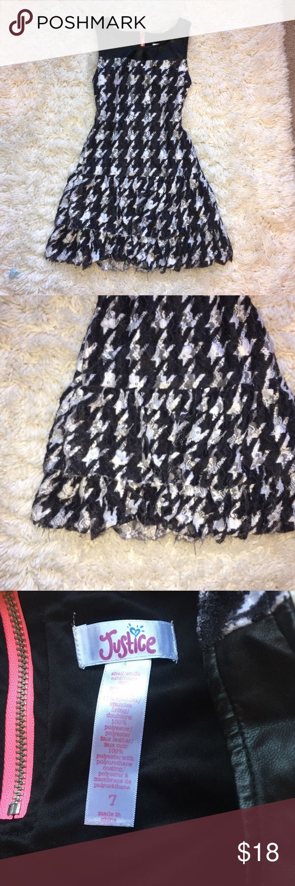 Girls 7 Justice Black White Pink Ruffle Dress Little Girls Size 7 Justice Black White Hot Pink Ruffle Rocker Chic Dress. Great condition. 💐Bundle and get 20% off! Justice Dresses Casual