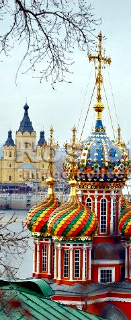 Colorful domes of Russian churches, Moscow