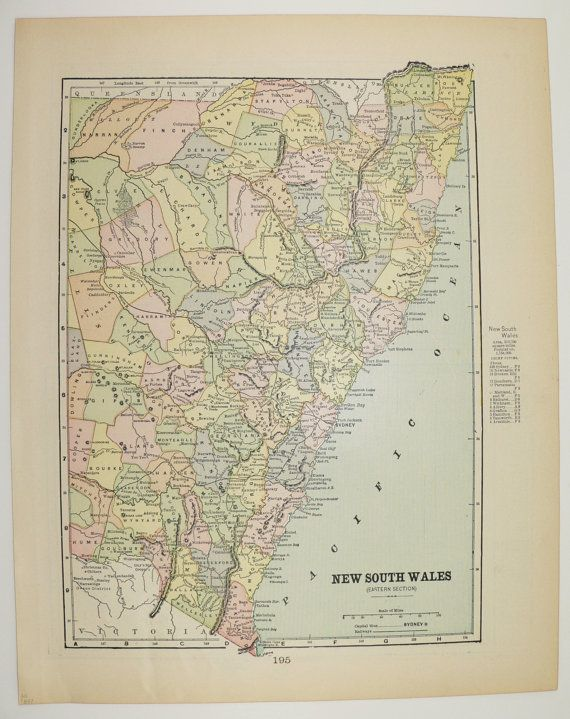 Antique New South Wales Map Vintage Map of Australia Victoria Queensland NSW 1897 Gift Under 20 Wedding Prop Anniversary Gift Travel Map by OldMapsandPrints on Etsy