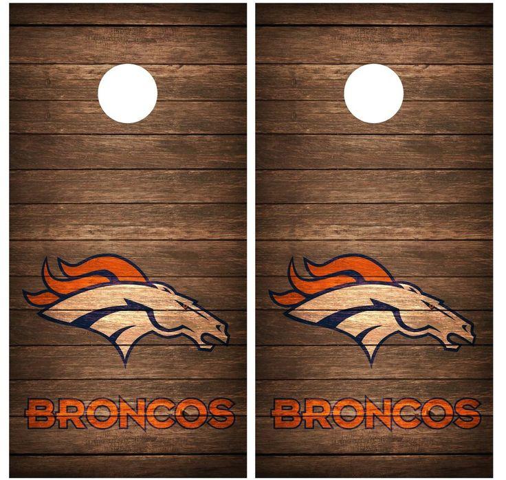 cornhole wraps Broncos   Denver Broncos Vintage Wood Cornhole Board Decal Wrap Wraps Brown ...