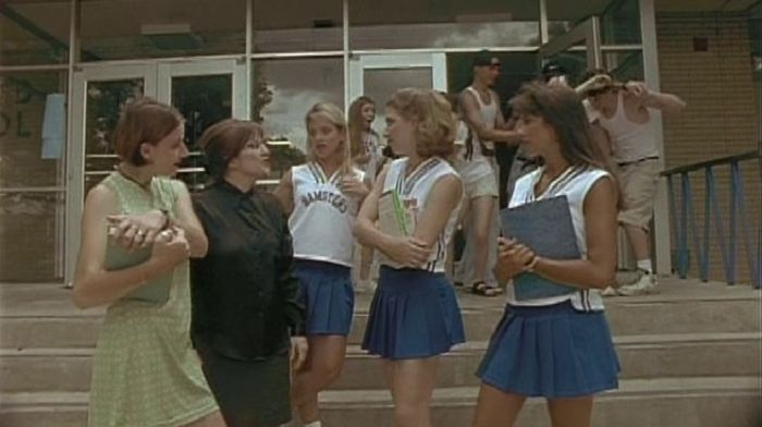 "Cheerleader Ninjas (2002)  Dir: Kevin Campbell Stars: Kira Reed, Jeff Nicholson, Kevin Campbell   4 perky, clueless cheerleaders are blamed by the Church Ladies for invading the ""Internet smut"" into their children's bedrooms.   Watch it here: http://www.watchfree.to/watch-59ef-Cheerleader-Ninjas-movie-online-free-putlocker.html"