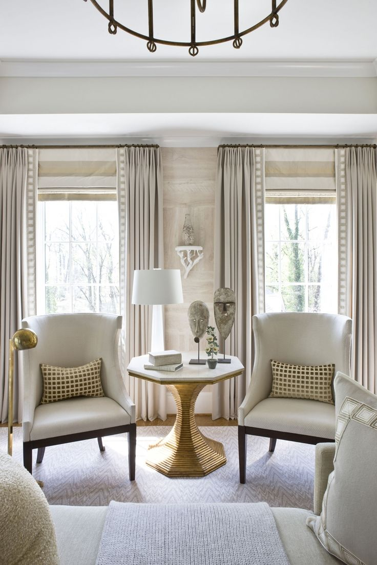 Tape on leading edge with horizontal stripe roman shade - roman shade mounted at height of rod #curtains