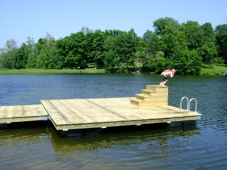 Image floating water deck google search river deck and for Pond pier plans