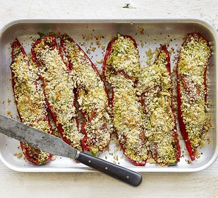 Take five ingredients and whip up this simple midweek supper of pesto peppers with couscous, mozzarella cheese and tomatoes