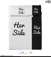 Black and white fun korean bedding set king queen full size quilt duvet cover sheets bed in a bag bedspreads her his side cotton(China (Mainland))