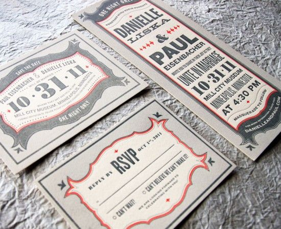 Danielle + Paul's Vintage-Inspired Marquee Halloween Wedding Invitations | Design/Concept: Kate Gabriel | Printing: Evolutionary Press | Photo: Wit + Delight