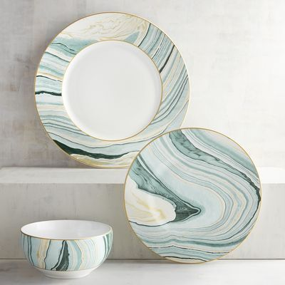 Ready to take a break from everyday white and boring solids? Showcase your rockin' style with our unusual Katalla Bay Ceramic Dinnerware in rich shades of teal, taupe and glimmering gold. A beautiful way to set a table that displays nature's gifts.