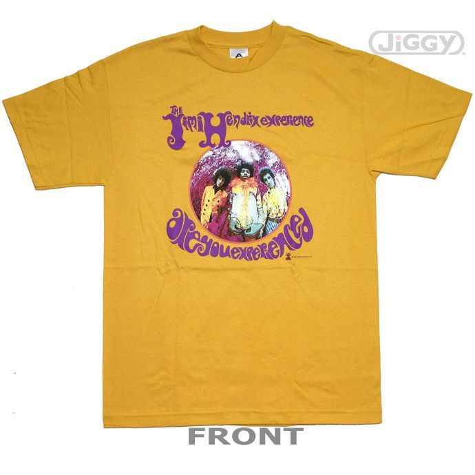 """JiGGy.Com - Jimi Hendrix - Are You Experienced T-Shirt Jimi Hendrix t-shirt with album cover artwork from his debut studio recording, """"Are You Experienced"""" released in 1967. Printed on a gold 100% cotton t-shirt."""
