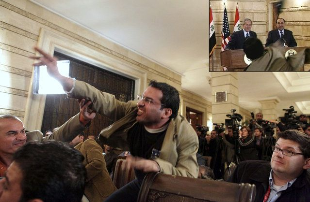 """An Iraqi man throws a shoe at President George W. Bush (seen ducking the shoe in inset image) during a news conference with Iraq Prime Minister Nouri al-Maliki on December 14, 2008, in Baghdad. Muntadhar al-Zaidi, an Iraqi broadcast journalist threw two shoes at Bush, one after another, during the news conference. Bush ducked both throws. As he threw the shoes, al-Zaidi reportedly shouted """"This is a farewell kiss from the Iraqi people, you dog"""", and """"This is for the widows and orphans and…"""
