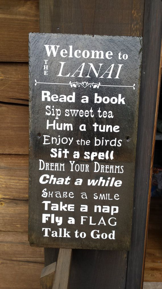 Welcome to the Lanai Slate Sign  Lanai Rules by ThreeDamesDreamin
