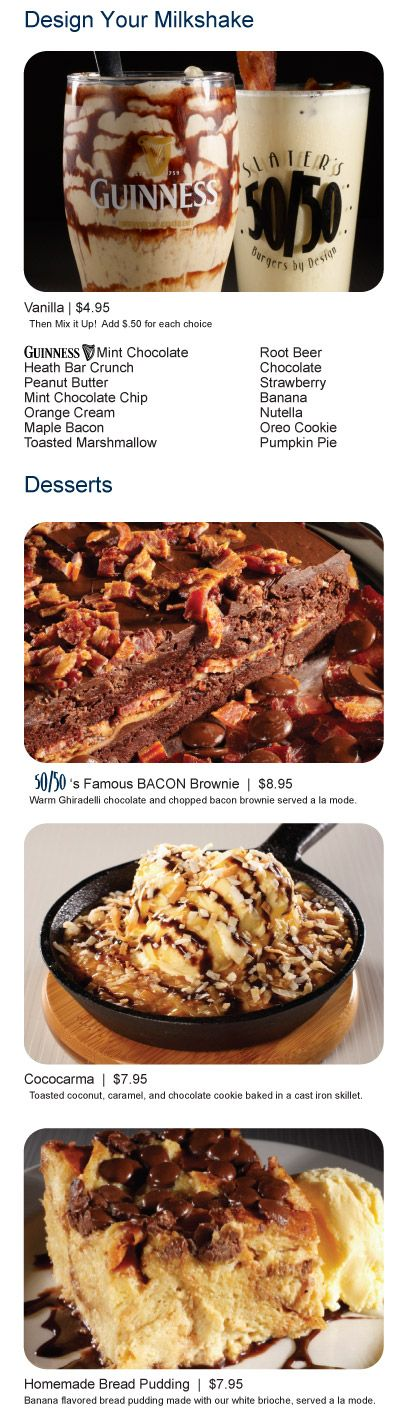 Dessert Menu at Slater's 50/50- Yum! 2750 Dewey Road Building 193  Liberty Station/San Diego, CA 92106 #sandiego #burger #slaters #pointloma: Roads Building, Building 193, Bacon Brownie