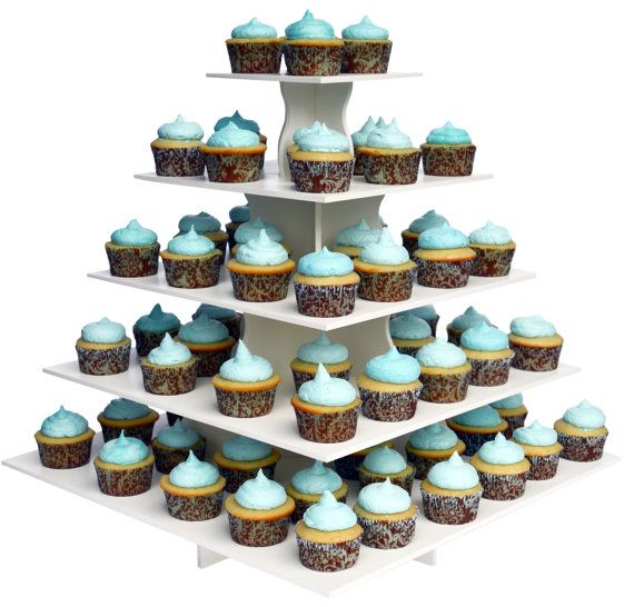 5 Tier Square Cupcake Tower Stand-Reusable and by AllCustomGifts