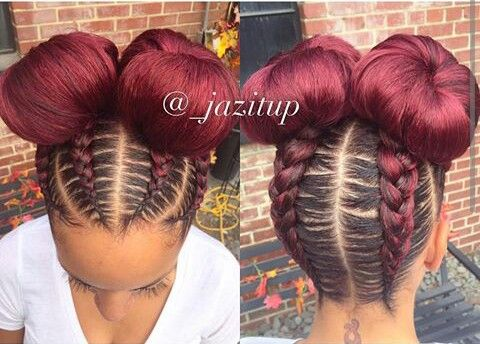 Beautiful feed in braids into stylish bun