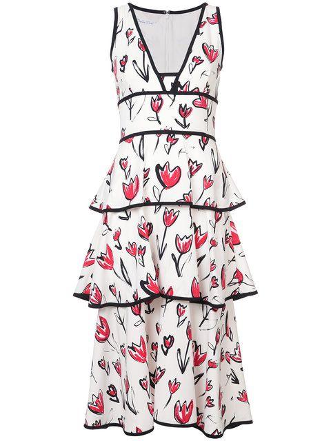 Shop Oscar de la Renta tiered floral-print midi dress.