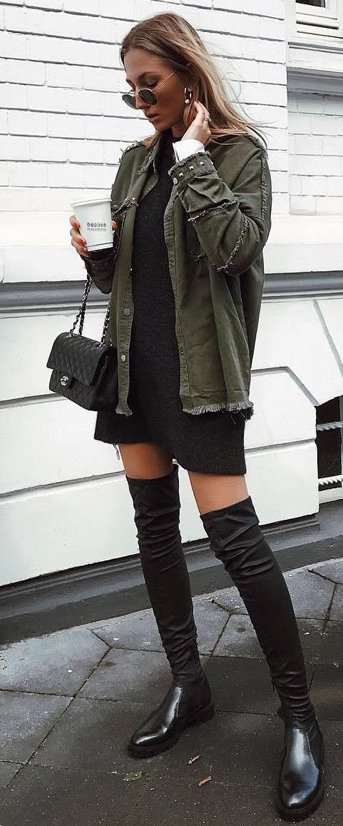 outfit of the day | khaki jacket + black dress + bag + over the knee boots