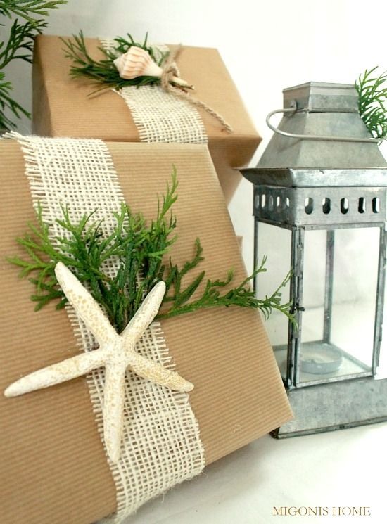 Simple Beachy Gift Wrapping Ideas with Shells, Brown Paper & Twine http://beachblissliving.com/simple-gift-wrapping-ideas-brown-paper-twine-shells/