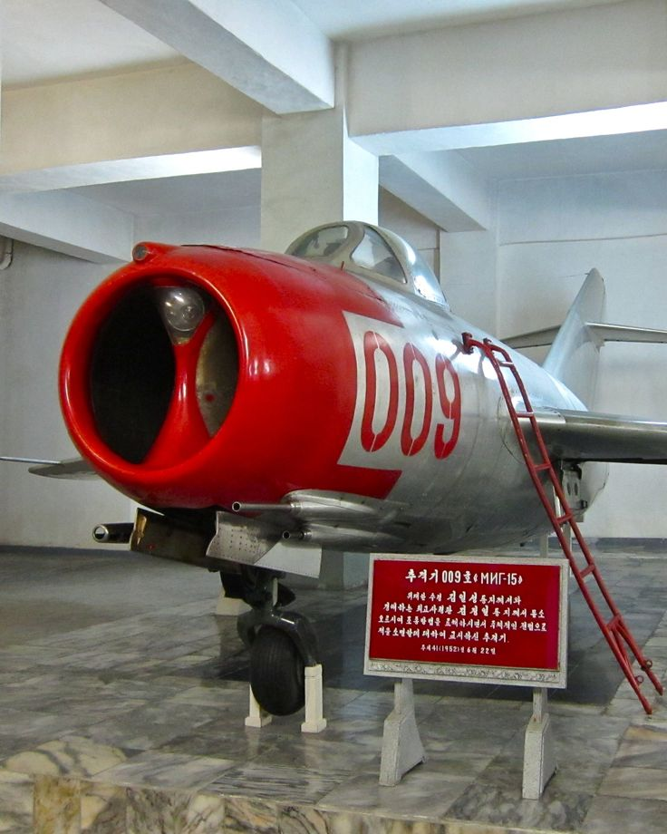 a mig 15 in the victorious fatherland liberation war museum north korea