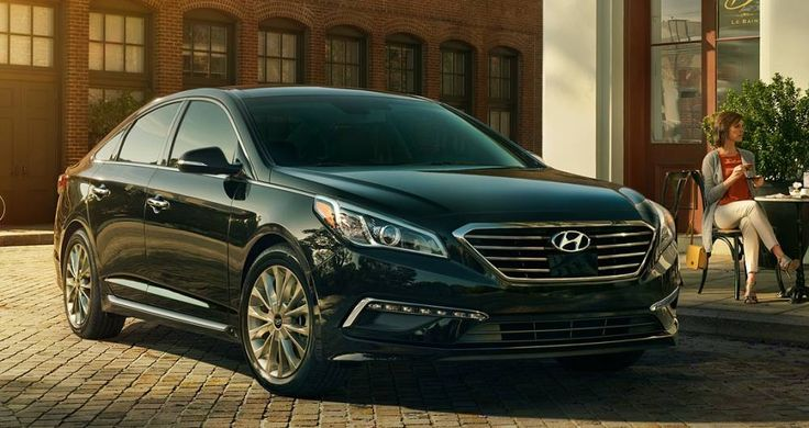 2017 Hyundai Sonata front view, black color, headlights and grille