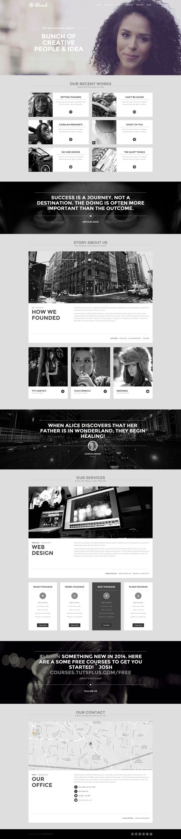 Alamak - Responsive One Page Portfolio Theme by Zizaza - design ocean , via Behance