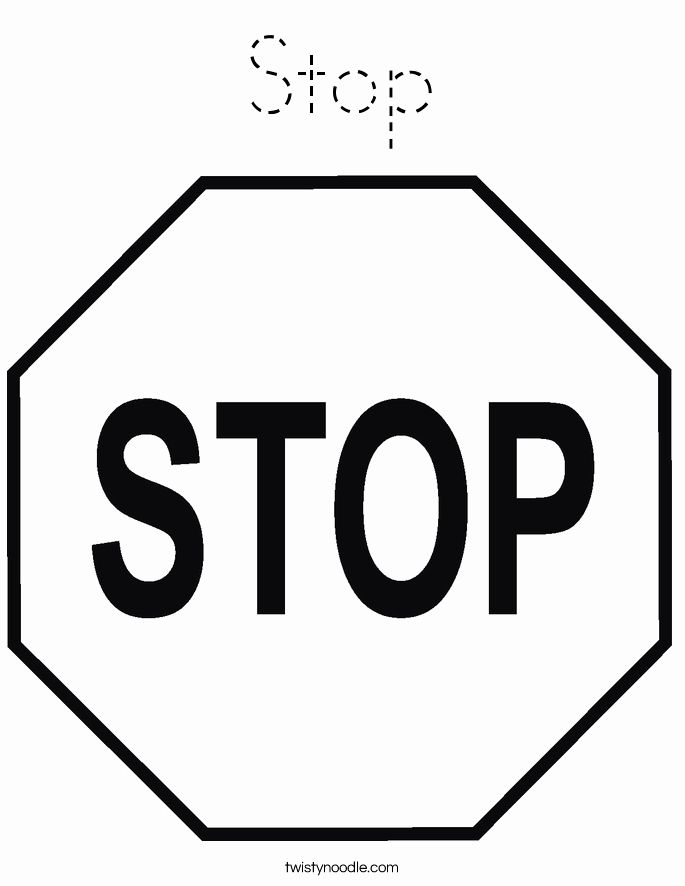 Stop Sign Coloring Page Inspirational Stop Coloring Page Tracing Twisty Noodle In 2020 Stop Sign Traffic Signs Signs