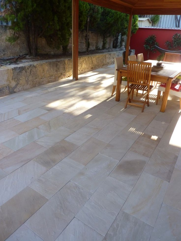 Garden Ideas Decking And Paving best 10+ sandstone pavers ideas on pinterest | sandstone paving